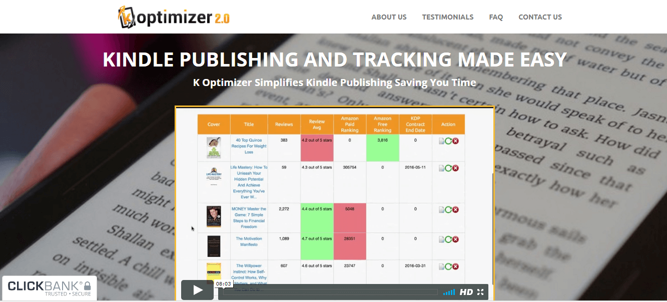 a screenshot of the website of k optimizer