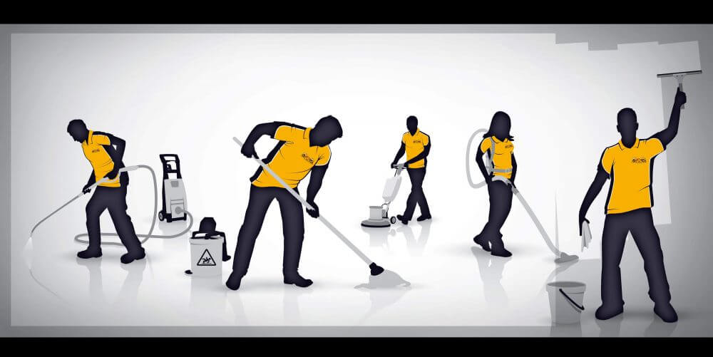 people cleaning