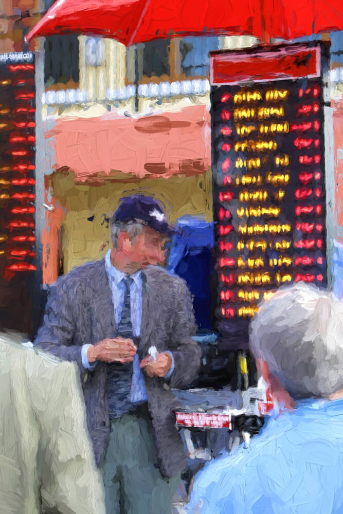 Bookie taking bets at a horse race