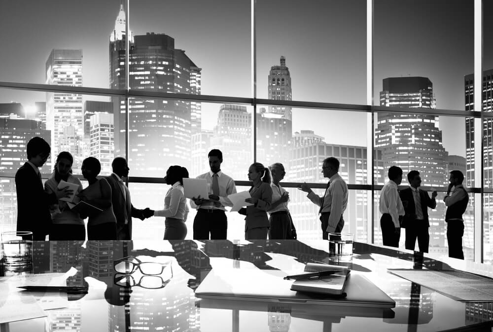 Group People Silhouette in Office