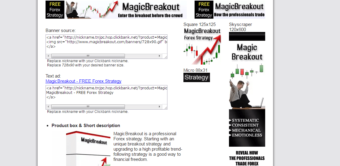 Magic Breakout Product Website
