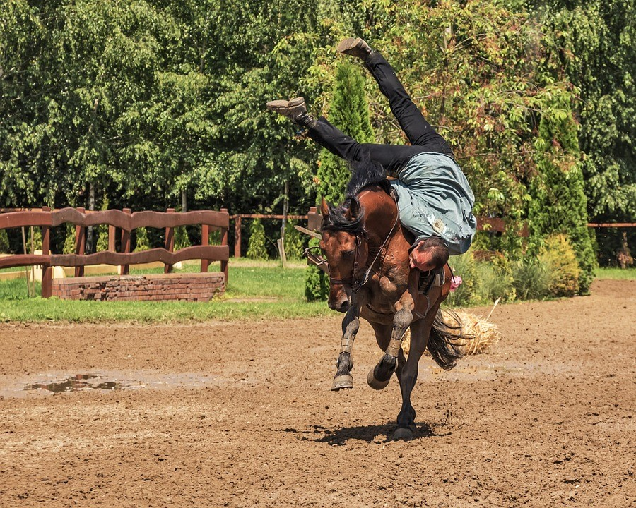Man fall down from the horse