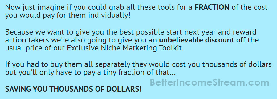 Niche Marketing Kit Saving Dollars