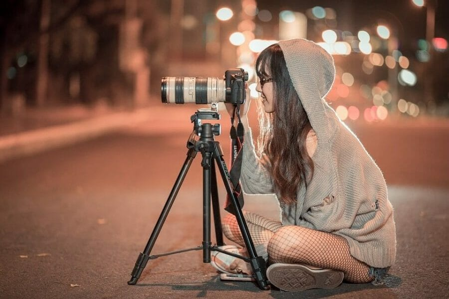 Shooting Canon Night Camera Girl Photographer