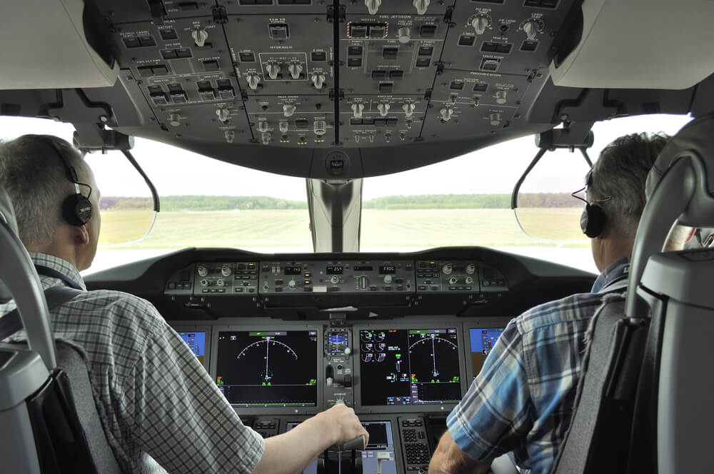 Pilots in the cockpit Boeing 787