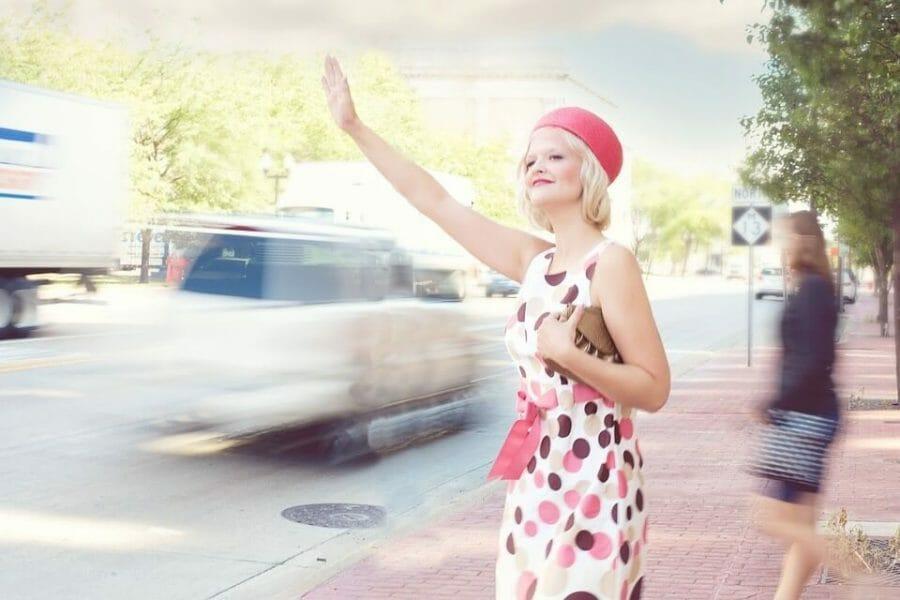 Pretty woman in traffic