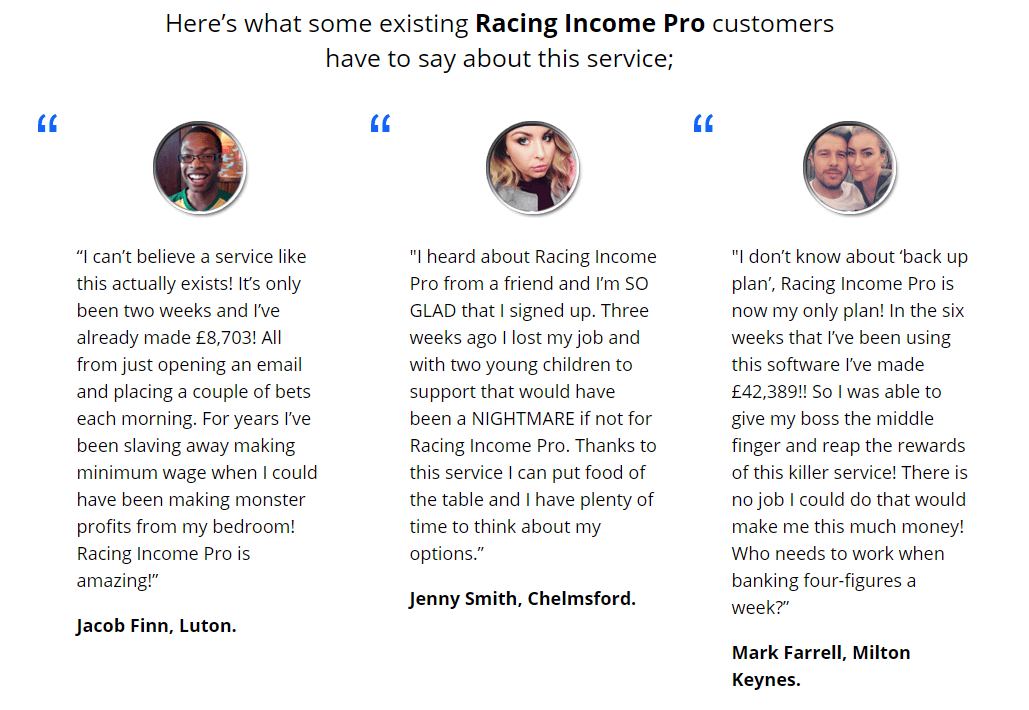 racing income pro happy customers