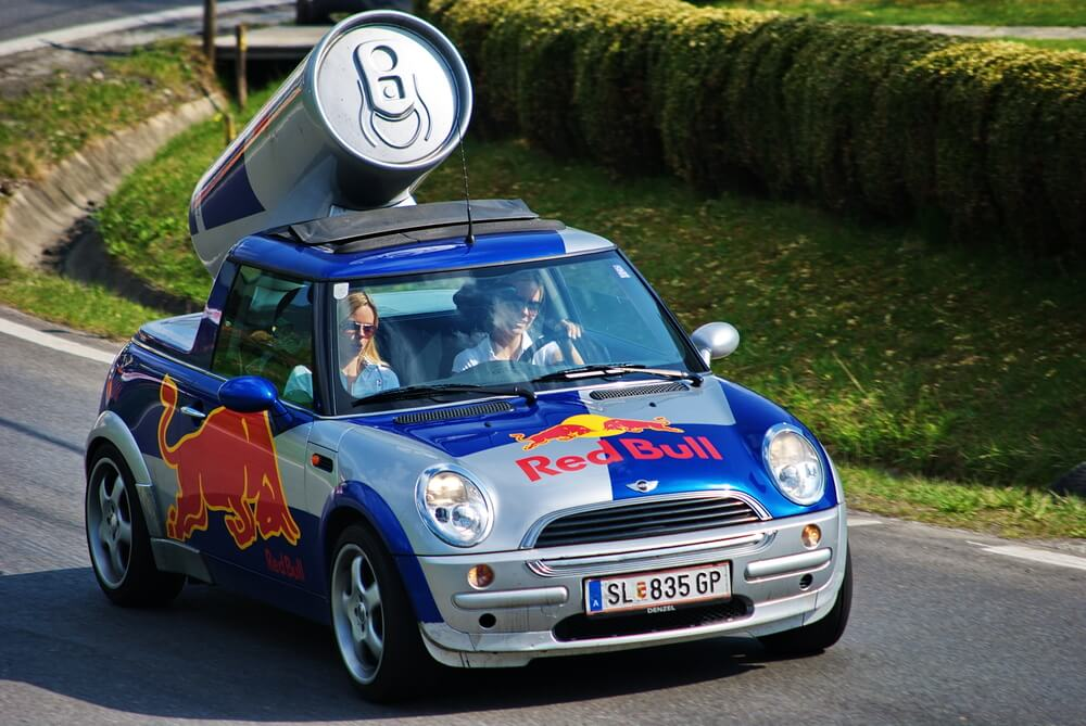 Red Bull advertising car