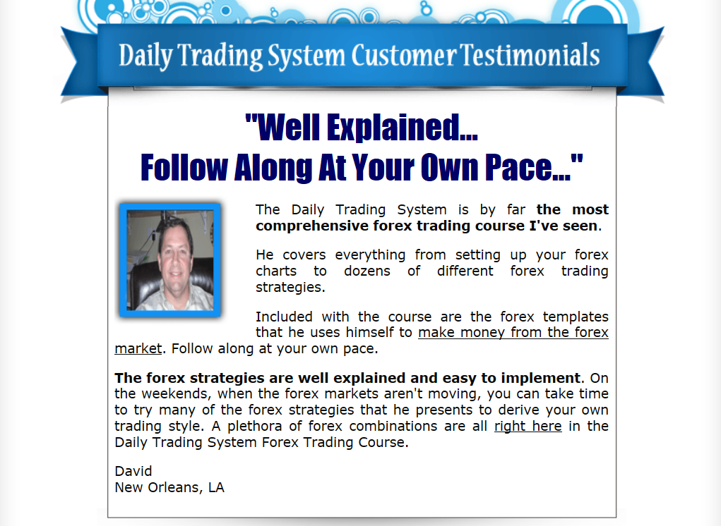 the Forex daily trading system