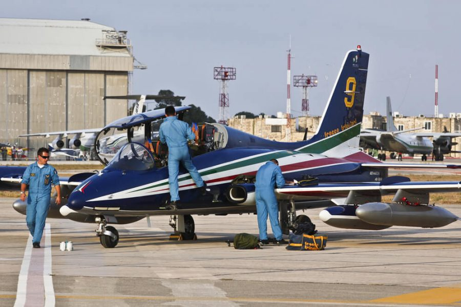 aerobatic team check their aircraft