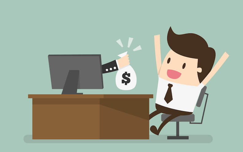 animation of a person earning online