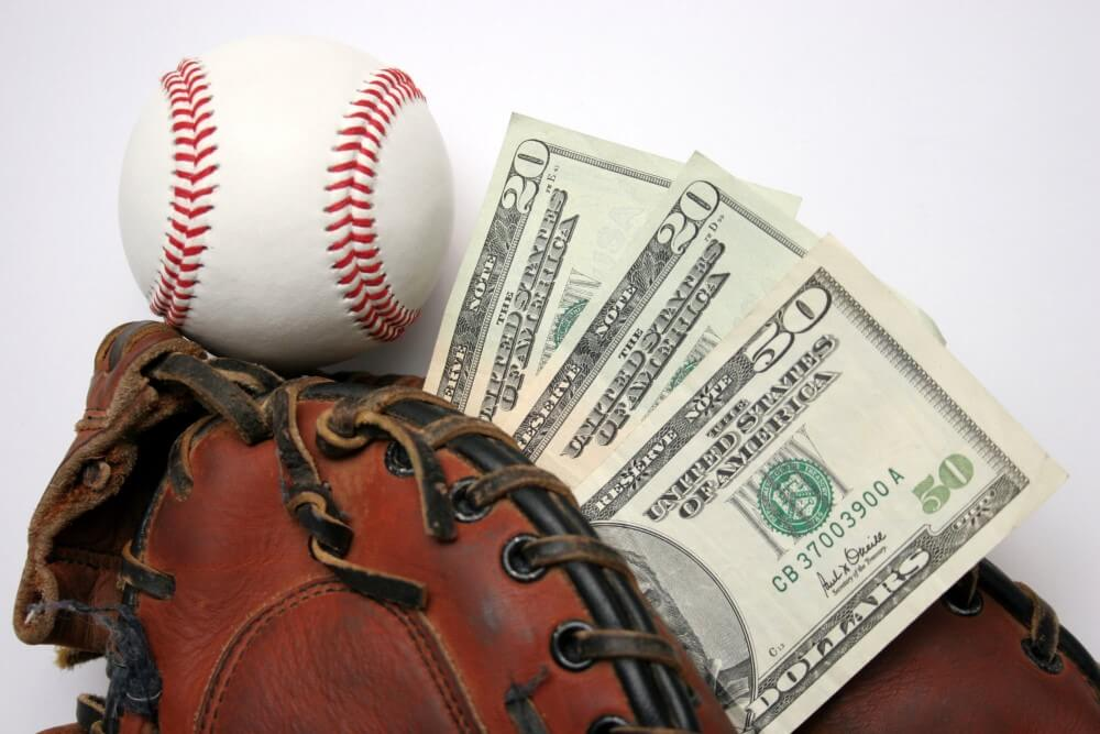 A baseball and money