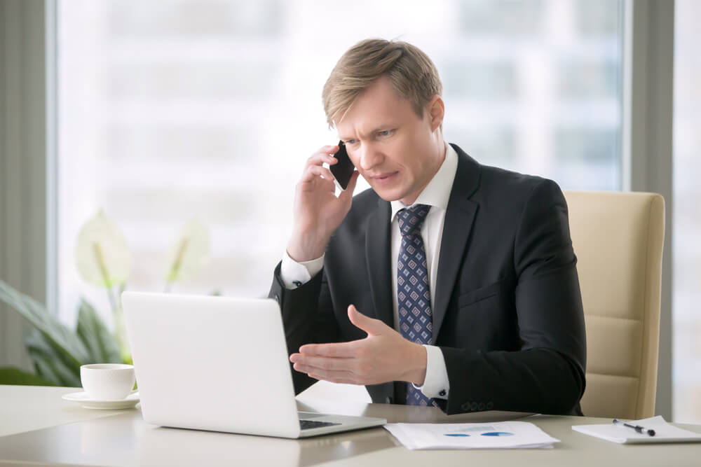 businessman working with laptop at desk