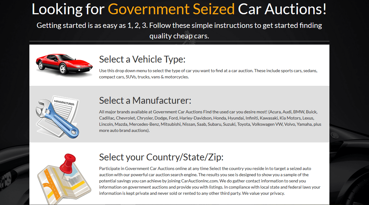 car auction inc site