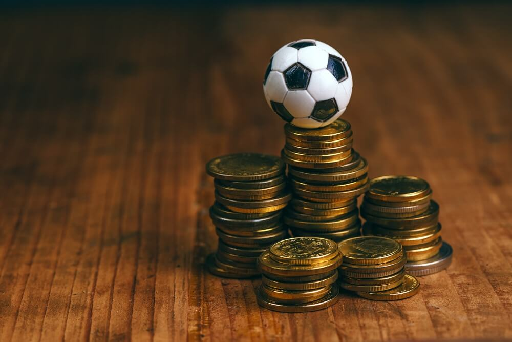 A football on coins