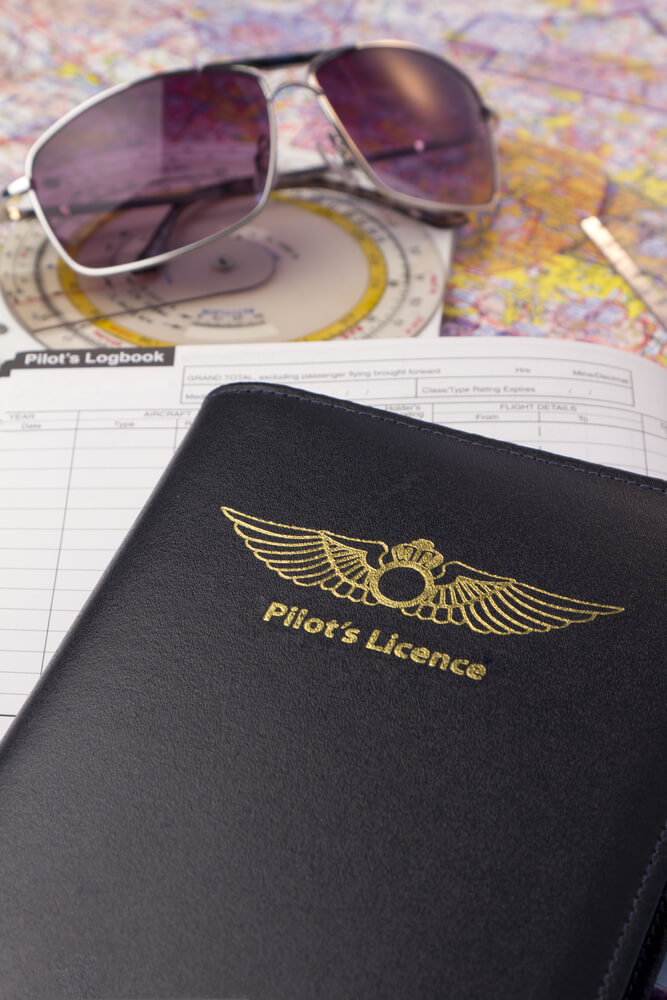 logbook, sunglasses and plotting tools