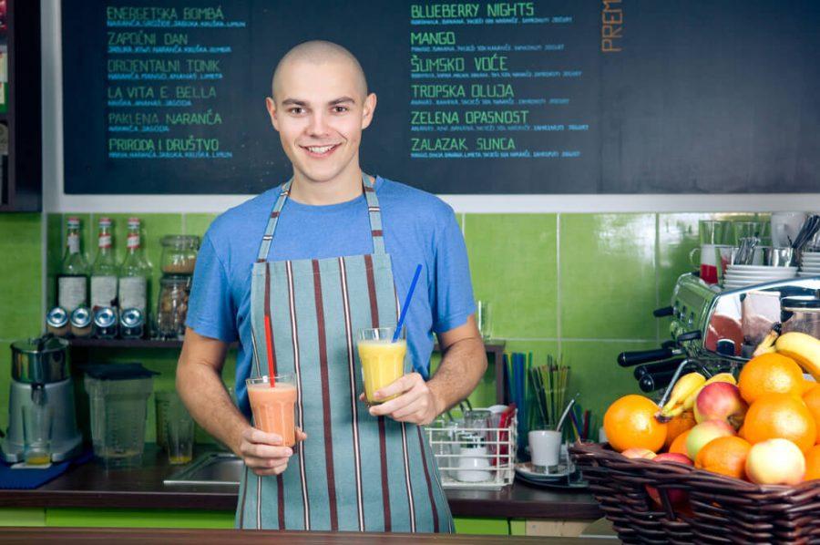 owner of a smoothie bar or bartender
