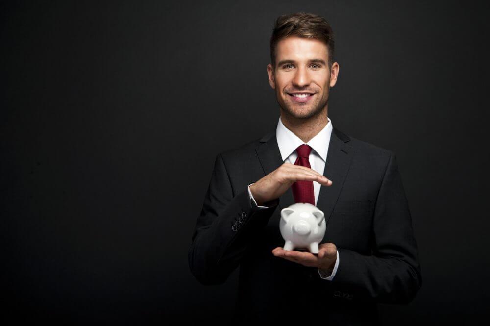 A man with a piggy bank