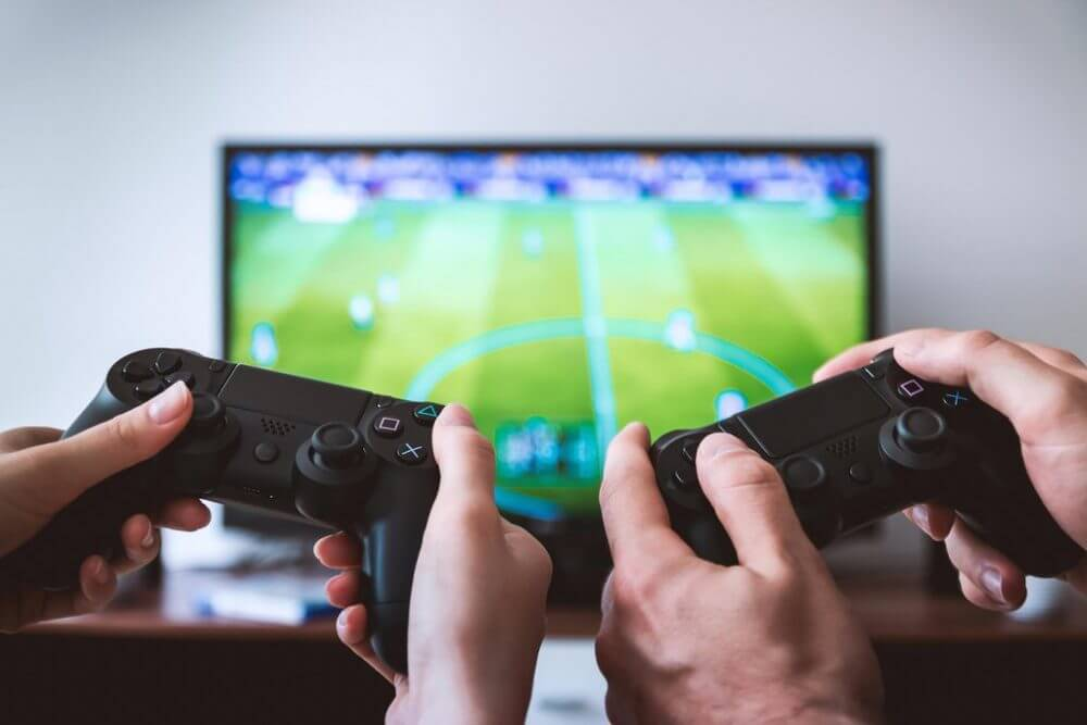 playing football videogame