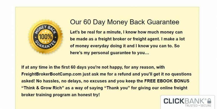Sixty day money back guarantee of Freight Broker Boot Camp