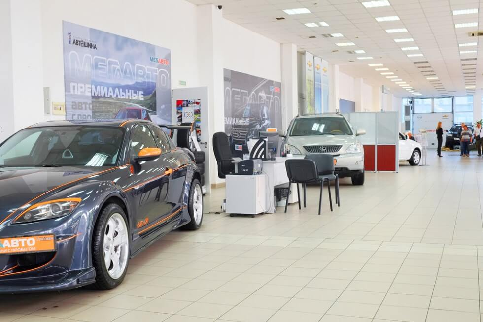 second-hand cars in dealer's showroom