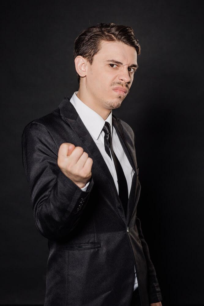 unhappy young businessman