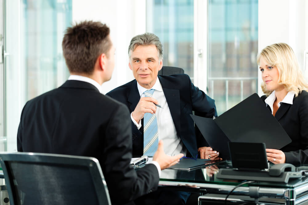 young man sitting in job Interview